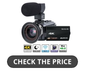 Video Camera Camcorder 4K kicteck under 200