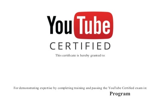 YouTube Certified Certificate